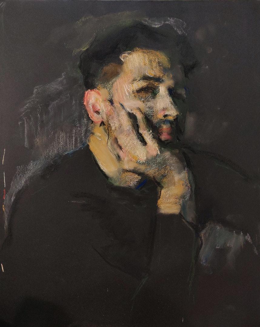 'Self portrait during the Isolation', Samir Rakhmanov, Pastel on black paper, 50 x 45 cm