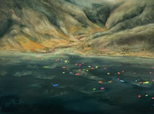 'Drops In The Ocean', Sarah Bold, Oil & fluorescent paint on board, 23 x 30 x 3 cm