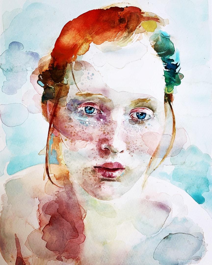 'Red Head'', sarah harvey, Watercolour, 25 x 35 cm'Red Head', Sarah Harvey, Watercolour, 25 x 35 cm
