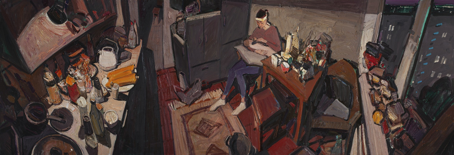 'In the kitchen tonight', Sayan Baigaliyev, Oil on canvas, 80 x 230 cm