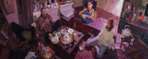 'Purple dialogue', Sayan Baigaliyev, Oil on canvas, 90 x 230 cm