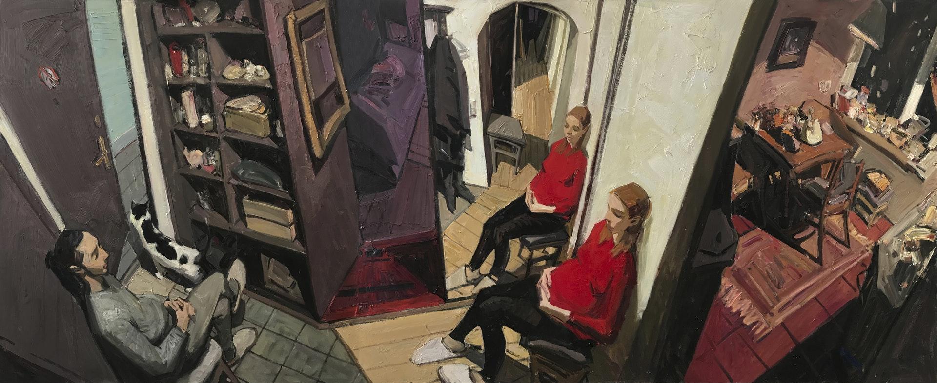 'Waiting for Jean', Sayan Baigaliyev, Oil on canvas, 150 х 365 cm