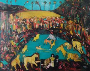 'In a Lion's Den, Playing', Serena Caulfield, Oil on canvas, 80 x 100 cm
