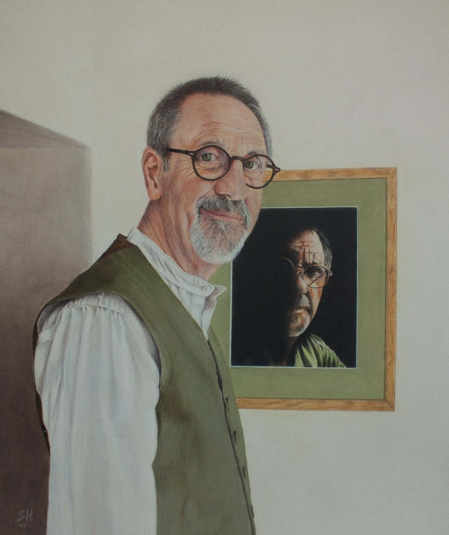 'Vitae Corona Fides (Faith is the crown of life) Self portrait.', Sid Hines, Coloured pencil on sanded paper, 43 x 38 cm