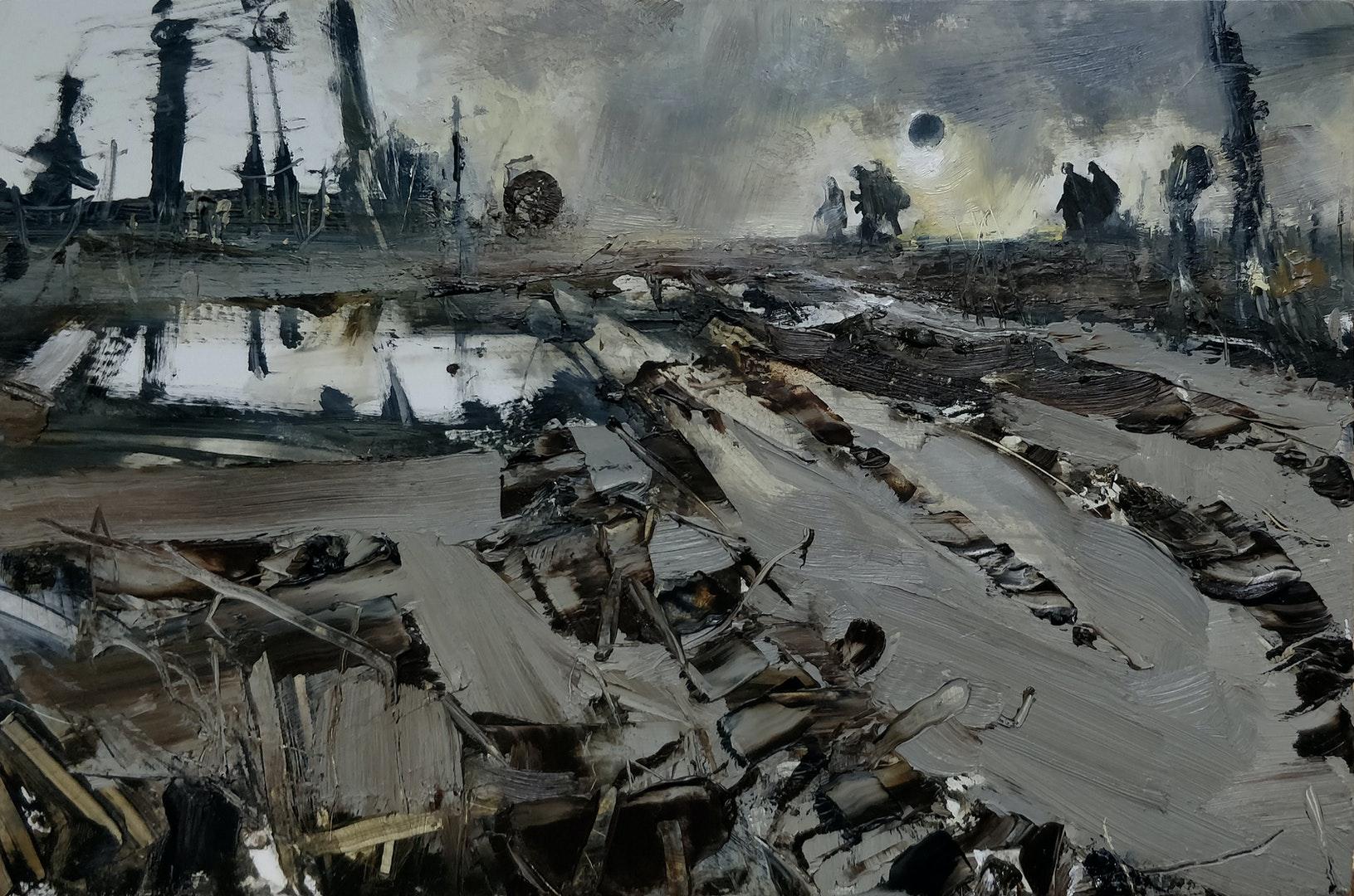 'Travellers Cross a Sodden Landscape Under a Solar Eclypse', Stephen Read, Oil on board, 20 x 30 cm