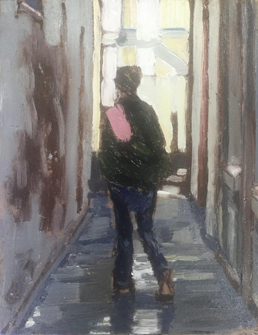 'Short Cut', Steve Dodd, Oil on board, 26 x 21 cm