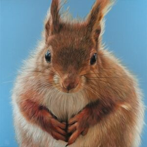 'Red Squirrel', Steve Nayar, Oil on canvas, 100 x 100 cm