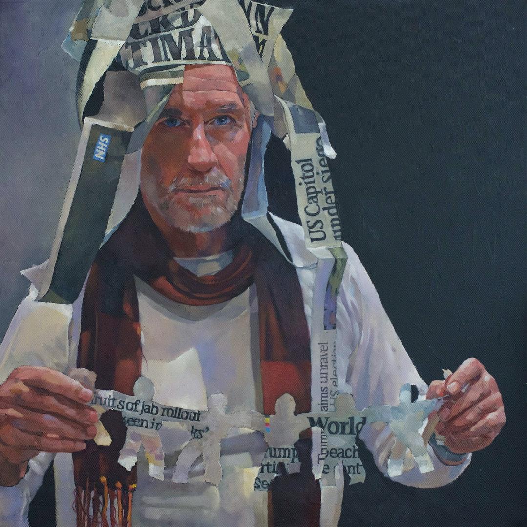'As we grieved, we grew. / Aka week 44. Day 5.', Stuart Pearce, Oils on acrylic ground, 51 x 51 cm