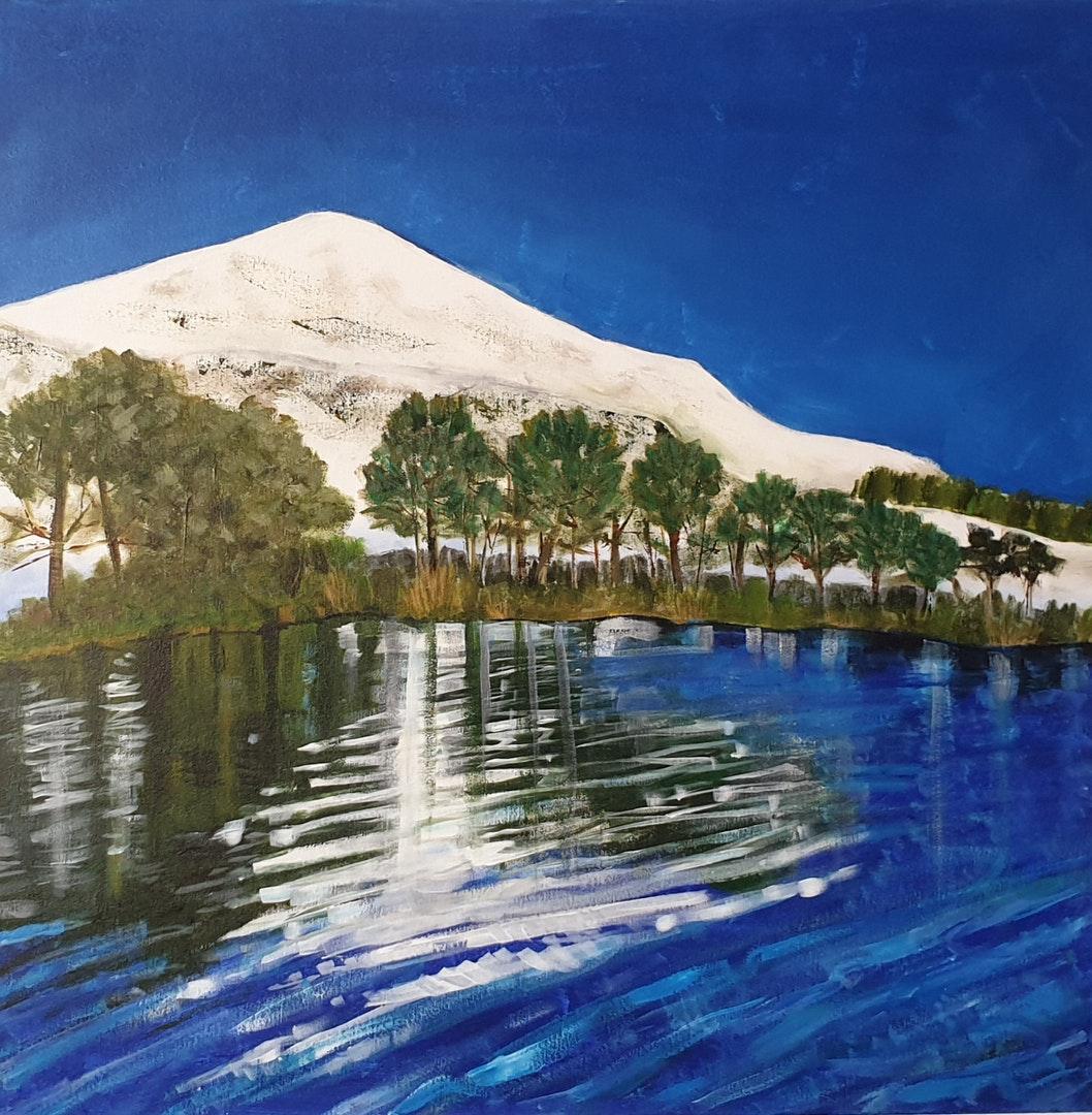 'Glencorse Reservoir, Pentland Hills', Susanne Astwood, Acrylic and oil pastel on canvas, 75 x 75 cm