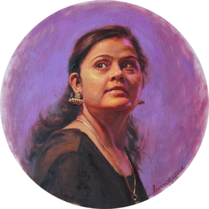 'Jhumka', Swapnil Srivastava, Oil on canvas, 30 cm