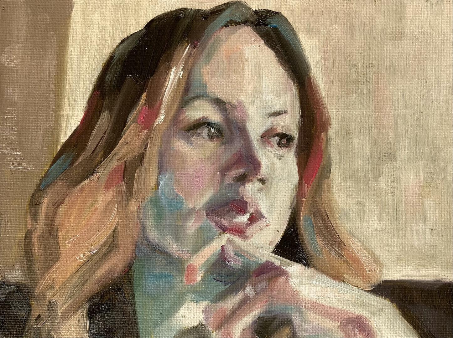 'Sara by Zoomlight', Varosha Cornford, Oil on canvas board, 18 x 24 cm