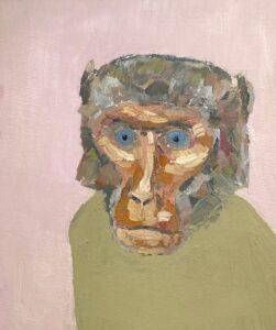 'Baboon', Viktor Mikhailov, Oil on canvas, 25 x 30 cm