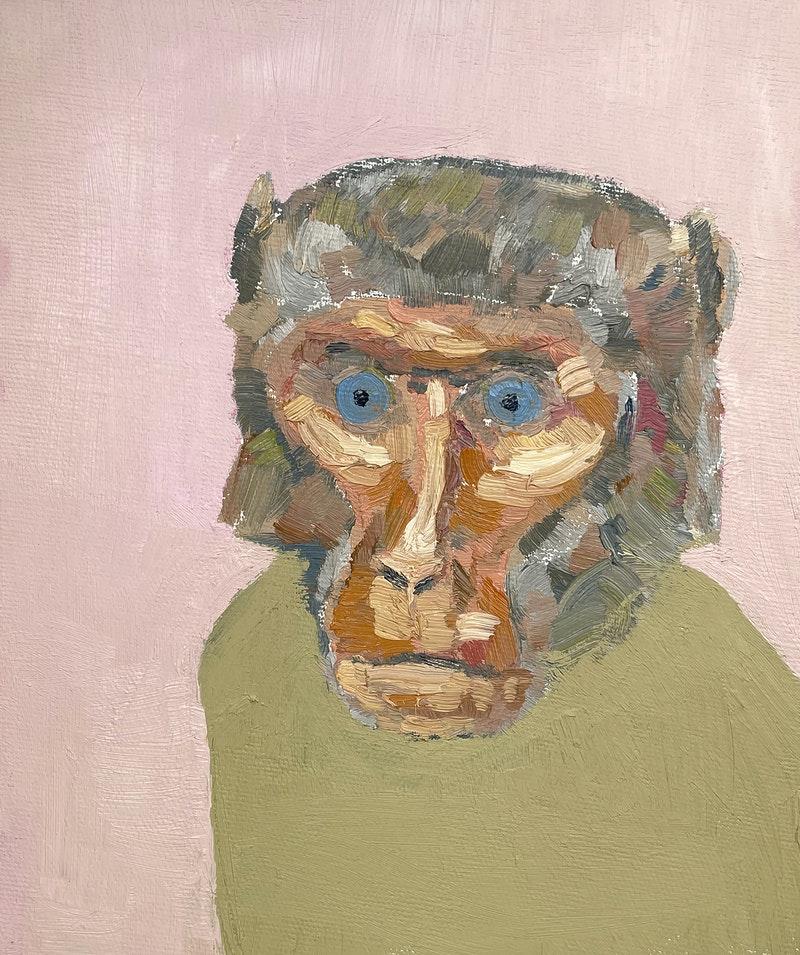 'Baboon', Victor Mikhailov, Oil on canvas, 25 x 30 cm