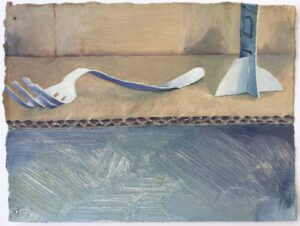 'Fork and Deodrant', Willa Hilditch, Oil on paper, 14 x 18 cm