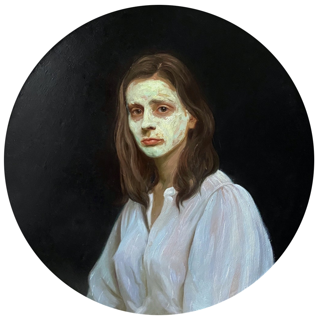'Do not forget to wear a Mask', Yana Chernova, Oil on linen, 75 x 75 cm