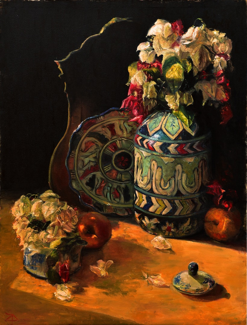 'Blue Pottery', Zahrah Azhar, Oil on canvas, 82.5 x 62 cm